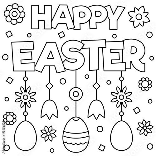 Happy Easter. Coloring page. Vector illustration.\