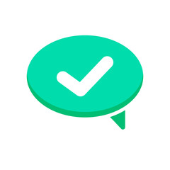 Bubble chat check dialogue mark message yes icon