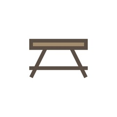 Camping & adventure icons - wooden table
