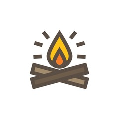 Camping & adventure icons - bonfiire