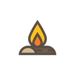 Camping & adventure icons - bonfiire