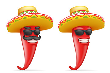 Mexican hat red cool hot chili pepper sunglasses mustache happy character realistic 3d cartoon design vector illustration