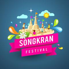 Amazing songkran festival of Thailand  on blue background, vector illustration