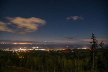 The town of Port Angeles, WA, twinkles below at night