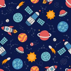 Cosmos. Seamless pattern in doodle and cartoon style. Color.