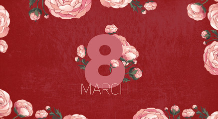 Illustration of pink peony flowers on a dark background. March 8. International Women's Day.
