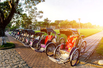 Cyclo (pedicab) Beautiful Color in Hue Province. Vietnam