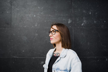 Casual woman in glasses