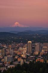 Mt Hood over Portland Oregon at sunset