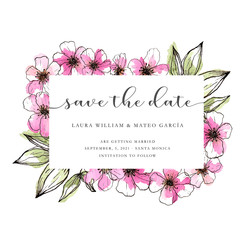Save the date template with hand drawn pink flowers, lineart and watercolor style, save the date lettering, wedding template