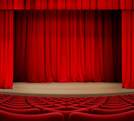 theater curtain on stage with red seats 3d illustration