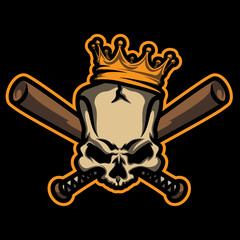 Skull with crown and crossed baseball bats for emblems, labels, t-shirt prints, badges and stickers.