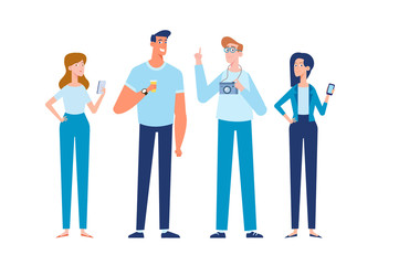 Group of Young people. Friendship. Cartoon style, flat vector illustration.