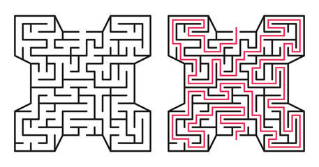 Abstract maze / labyrinth with entry and exit. Vector labyrinth 224.
