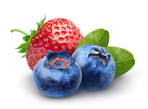 Isolated berries. Two sweet blueberry and strawberry fruits with leaves isolated on white background, clipping path