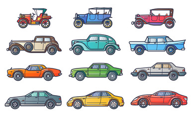 Car history illustration in flat line style. Evolution with retro and vintage car. Line art.