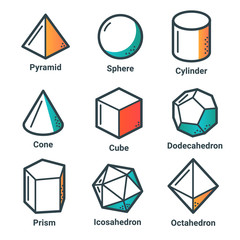 Collection of geometrical shapes in flat outline style. Light version.