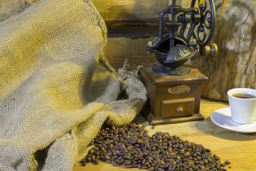 cup of coffee, coffee-beans, coffee grinder, coffee sack
