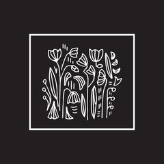 Floral black and white vector illustration. Traditional ornament.