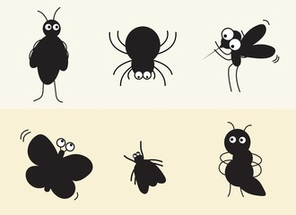 Various insects such as spider, mosquito, ant vector silhouette, black and white