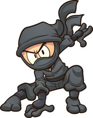 Cartoon ninja doing a three point landing. Vector clip art illustration with simple gradients. All in a single layer.