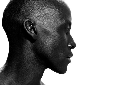 side portrait of african american man staring