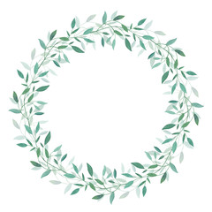 Wreath with green branches of leaves. Design for logo, greeting card, wedding invitation. Hand drawn watercolor illustration.