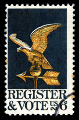 Vintage 1968 United States of America cancelled postage stamp showing Register and Vote with an eagle weathervane