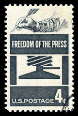 Vintage 1958 United States of America cancelled postage stamp showing Freedom of the Press