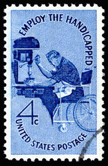 Vintage 1960 United States of America cancelled postage stamp showing Employ the Handicapped