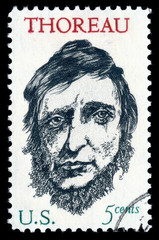 Vintage 1967 United States of America cancelled postage stamp showing a portrait image of  Henry David Thoreau