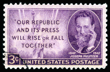 Vintage 1947 United States of America cancelled postage stamp  our republic and its press will rise or fall together with a portrait of  Joseph Pulitzer