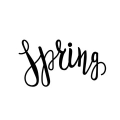 Spring vector lettering. Hand drawn calligraphy. Brush lettering
