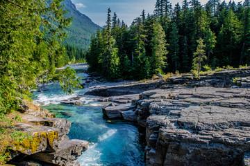 Printed kitchen splashbacks Forest river Beautiful Summer Day in Glacier National Park, Montana