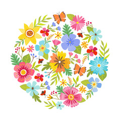 Colorful round shape made from flowers. Seasonal background. Can be used for greeting and wedding cards, gifts, postcards, invitations. Vector illustration.