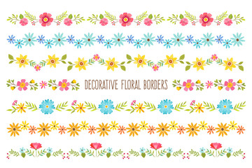 Set of colorful decorative floral borders. Perfect for create floral frame designs and text dividers. Vector illustration.