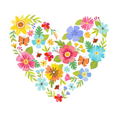 Colorful heart shape made from flowers. Seasonal background. Can be used for greeting and wedding cards, gifts, postcards, invitations. Vector illustration.