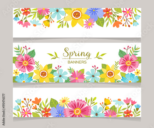 """""""Spring Horizontal Banner Templates With Colorful Flowers"""