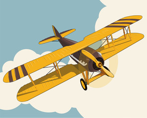 Yellow plane flying over sky with clouds in vintage color stylization. Old retro biplane designed for poster printing. Vector low poly airplane illustration. Banner layout. Model aircraft, two wings.