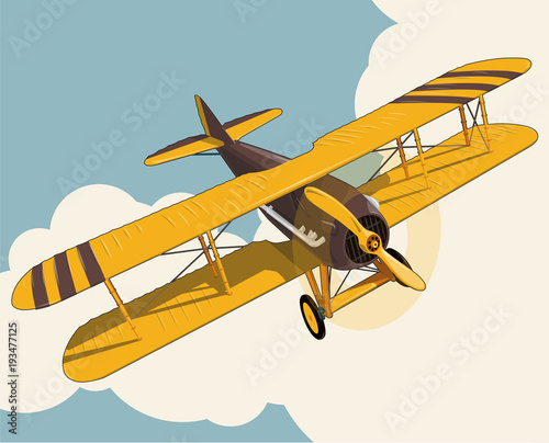 Yellow Plane Flying Over Sky With Clouds In Vintage Color Stylization Old Retro Biplane Designed