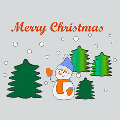 Merry Christmas and Happy New Year, greeting card, vector illustration.