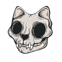 Cat skull sketch. Scary illustration. Vector line art. Modern background. Tattoo