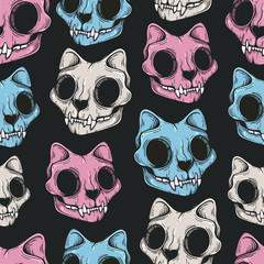Cat skull seamless pattern. Scary background. Line art. Modern background