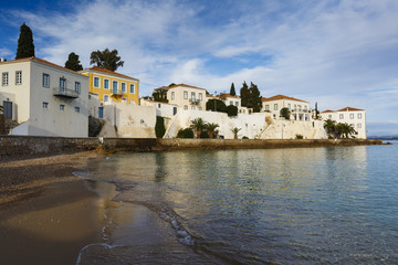 Traditional architecture in Spetses seafront, Greece.