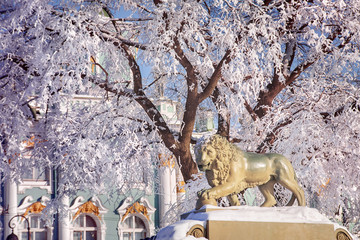 Winter landscape with lion in Saint-Petersburg, Russia