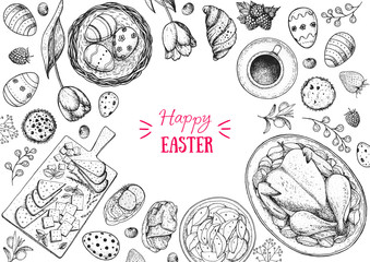Happy Easter vector illustration. Food hand drawn sketch. Festive table with Easter food. Engraved illustration. Vintage menu set.