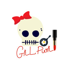 Girl Power Vector illustration: funny girly skull and abbreviation GRL PWR. Glam emoji style print for stickers, shirts, tee, etc. Girl or Woman empowerment promotion.