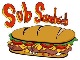 Cold Cut Sub Sandwich Drawing Foot Long