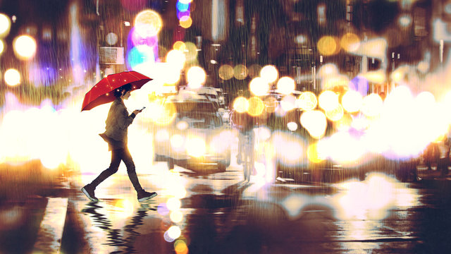 young woman listening to music on her phone and holding a red umbrella crossing a city street in the rainy night, digital art style, illustration painting