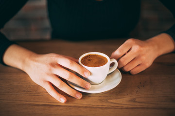 Lady's Hands Holding Turkish Coffee